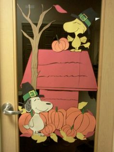 I made this for Thanksgiving for my office door.  Just construction paper and card board for the tree.  Planning on doing a christmas theme with it in december.