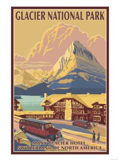#WINTER Vintage style travel poster - USA - Glacier National Park - Winter Sports
