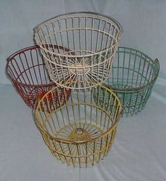 actually these baskets are used at golf driving ranges to hold the golf balls...however, they can be repurposed as egg baskets Best Chicken Coop, Fresh Chicken, Chicken Eggs, Wire Egg Basket, Eggs In A Basket, Vintage Wire Baskets, Flea Market Finds, Vintage Farm, Farmhouse Chic