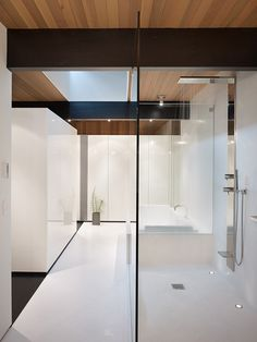 Transparent and white bath and shower spaces