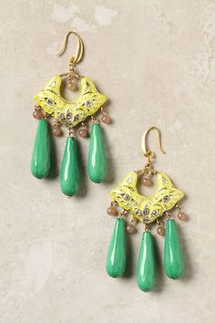 """Sunbright Cloisonne Drops. The shaped of the """"danglers"""" make me so happy. I used to have earrings like this in turquoise but they are long lost."""