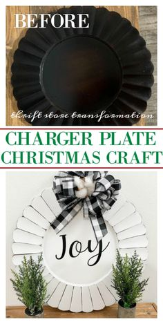 charger plate Christmas craft - - The thrift stores are full of items that can be turned into holiday decor. Here is a charger plate Christmas craft farmhouse style. Charger Plate Crafts, Charger Plates, Plate Chargers, Dollar Store Christmas, Christmas Crafts, Christmas Decorations, Xmas, Thrift Store Crafts, Thrift Stores