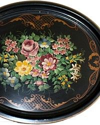 Vintage Handpainted Large Toleware Tray Pink Rose-French, country,tole, hand, painted, gilt, large,table, stand,display, collector,collectible, antique,pilgrim,floral,lavender, purple, violets,blue, morning glory,lily, white,scrollwork, fleur de lis, laurel, wreath, chapman