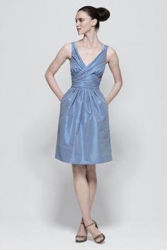 V-neck taffeta bridesmaid dress with knee-length