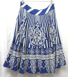 Maple Size 8 Blue White Striped Full Skirt w/Graphic Print Cotton, Made in India  This is a casual full skirt from maple.      It is blue and white striped, and is accented with beautiful designed prints.     It is a full skirt with a wide waistband, and zips.      This is American women's size 8.    http://www.ebay.com/sch/oursisterscloset  http://www.ywcaokc.org/  http://www.facebook.com/OurSistersCloset