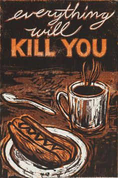 """Hot Dogs & Coffee, 17"""" x 11"""" color woodcut by Kent Ambler"""