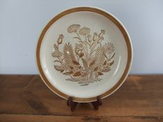 Jamestown China Ironstone Floral Brown and White Dinner Plate by jessamyjay on Etsy