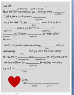 valentine's day writing activity for kindergarten