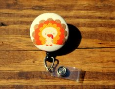 Thanksgiving Turkey Badge, Hoilday Badge, Retractable Badge,Swivel Clip,RN Badge, CnA Badge, Coach Badge, Teacher Badge, Fabric Badge by TheNerdyFatCat on Etsy