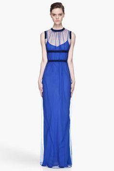 CHRISTOPHER KANE - Royal blue Sheer layered Maxi Dress