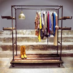 Diy clothing rack galvanised galvanized pipe clothes racks and rails summer project ideas of garment rack Pipe Furniture, Industrial Furniture, Pipe Clothes Rack, Clothes Storage, Clothes Stand, Dress Clothes, Diy Home Decor Rustic, Galvanized Pipe, Garment Racks