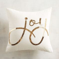Gold Sequined Joy Pillow at Pier 1 Shabby Chic Christmas, Elegant Christmas, White Christmas, Christmas 2019, Merry Christmas, Christmas Cushions, Christmas Pillow Covers, Christmas Balloons, Gold Diy