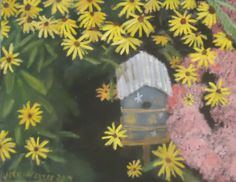 Birdhouse with Back-eyed Susans. 11 x 14 oil on canvas board