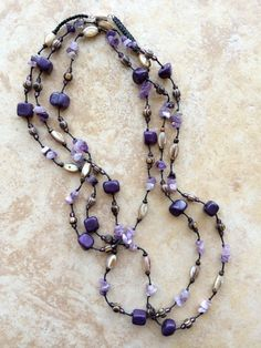 Long Stone and Wooden Beads Necklace Purple by FrancaandNen
