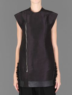 Rick Owens tube biker waistcoat with front zip closure and lace details at sides #rickowens