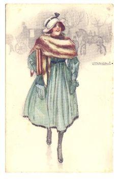 A/S MAUZAN old postcard, Italian Glamour lady mink stole series 201-4 | eBay