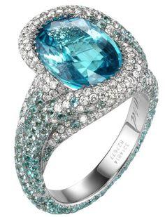 18k white gold, aquamarine & diamond ring // chopard