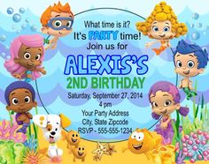 Bubble Guppies Invitation Free Backside Thank You Card New Item