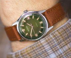 Green face watch East men's wriswatch minimalist by SovietEra