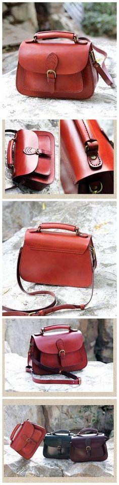 LISABAG--Handcrafted Leather Messenger Handbag Leather Shoulder Bag Small Satchel in Red AK04