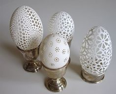 Slovenian artist, Franc Grom creates egg art that can compete with Fabergé eggs in their unique beauty. In fact, he continues old traditions in modern art. Egg Crafts, Easter Crafts, Arts And Crafts, Egg Shell Art, Carved Eggs, Beltane, Egg Art, Egg Decorating, Egg Shells