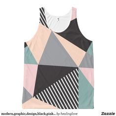 modern,graphic,design,black,pink,mint,cheker,trend All-Over print tank top Tank Tops