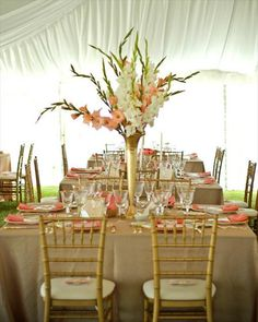 I am all for using Gladiolas in wedding designs, but I would worry that the stem on the left may fall out if the arrangement onto someone's head...lol!