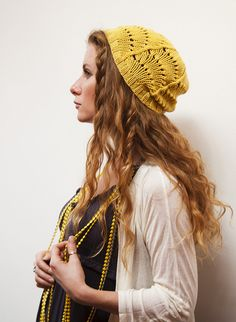 love that loose lacey mustard beanie.