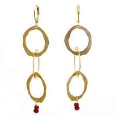 Thin 3 Rough Cut Earrings with Stone by Lisa Crowder: Gold and Stone Earrings available at www.artfulhome.com