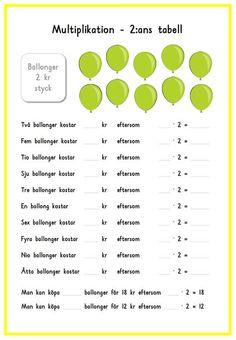 Multiplikation med ballonger Teaching Schools, Teacher Education, School Teacher, Teaching Math, Primary School, Learn Swedish, Swedish Language, Math Multiplication, Math For Kids