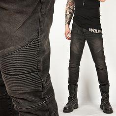 Washed Tough-Chic Black Designer Skinny Biker Jean - Jean 24
