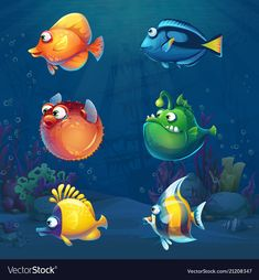 Buy Set of Cartoon Fish in Underwater World by Nearbirds on GraphicRiver. Set of cartoon funny fish in underwater world background. Marine Life Landscape with different inhabitants. Fish Background, Cartoon Background, Underwater Cartoon, Underwater World, Ballon Animals, Cartoon Fish, Fish Cartoon Images, Underwater Creatures, Fish Design
