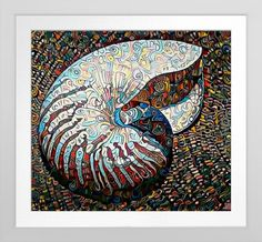 Nautilus - Original Art On Canvas Print. Original art by Roger Smith. Reproduced on Premium Canvas http://www.zazzle.com/nautilus_original_art_on_canvas_print-228689979673621097 #nautilus #seashell #art #print #RogerSmith