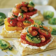 tomato tarts with basil and fresh goat cheese....