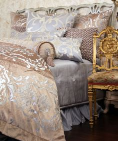 Bedding inspiration:  Silver, gold, cream, white, taupe... scrolls, damask, tassels... some combination or all of the above... hmmm...