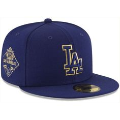 New Era Los Angeles Dodgers Team On Metallic 59FIFTY Cap ($35) ❤ liked on Polyvore featuring men's fashion, men's accessories, men's hats, royalblue, mens baseball hats, mens caps and hats and mens fitted hats