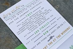 cute history of the couple in the wedding invite