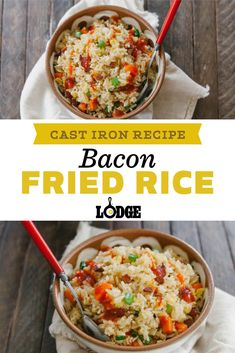 Cast Iron Bacon Fried Rice Recipe! The key to really good fried rice is stale rice that no longer sticks together. Make a big batch and let it sit open in your fridge overnight for best results.