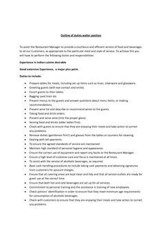 outline to a restaurant business   Outline of duties waiter position To assist the Restaurant Manager to
