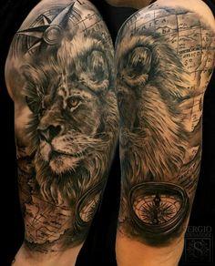 Animal Tattoo Designs are very common among people. Lion Head Tattoos, Leo Tattoos, Bild Tattoos, Animal Tattoos, Future Tattoos, Body Art Tattoos, Tattoos For Guys, Tatoos, Lion Tattoo Sleeves
