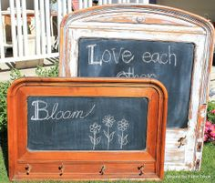 We love the distressed look of these headboards repurposed to become chalkboards! A terrific DIY project from @Becky at Beyond The Picket Fence