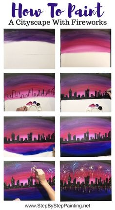 Cityscape Painting With Fireworks – Step By Step Acrylic Tutorial – Acrylic Paintings Cityscapes – Malerei Simple Canvas Paintings, Small Canvas Art, Easy Canvas Painting, Mini Canvas Art, Sunset Painting Easy, Art Painting Tools, Canvas Painting Tutorials, Diy Painting, Painting Flowers