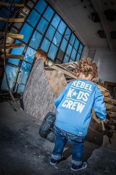 'Rebel Kids Crew' - Longsleeve Dziecięcy - Niebieski