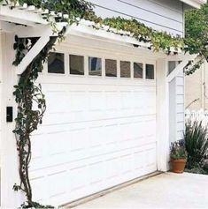 When attached to a home, deck, doorway, or garage, a pergola can serve as a beautiful element that connects and intrigues. Use these stylish pergola designs as inspiration for your own home. Garage Door Styles, Garage Doors, Garage Windows, House Windows, Fake Windows, Porch Doors, Barn Garage, Front Doors, Outdoor Spaces