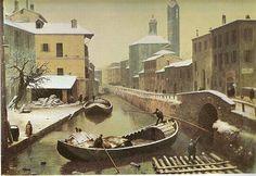 Angelo Inganni, Il naviglio di Via Vittoria, Collezione privata.