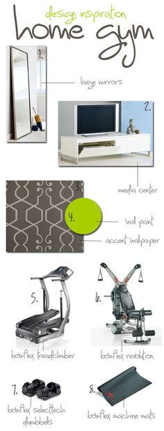 Sunroom converted Hom Gym Design Inspiration board. Let us help you design your space for a fraction of the cost!  www.twoandthreedesigners.com