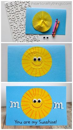 You are my Sunshine Mother's Day Card Kid Craft from iheartcraftything....