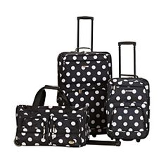 @Overstock - Sturdy polyester construction, smooth in-line skate wheels and a fashionable dot print highlight this luggage set. The 28-inch upright and the 19-inch carry-on feature an expandable option that provides two more inches of depth on each.http://www.overstock.com/Luggage-Bags/Rockland-Perfect-Ensemble-Black-Dot-3-piece-Expandable-Luggage-Set/6910751/product.html?CID=214117 $83.95