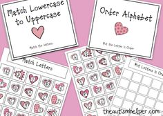 Letter File Folder Activities for Valentines {matching lower case to upper case and ordering letters of the alphabet} from theautismhelper.com