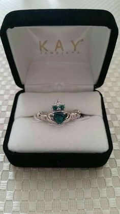 My ideal wedding ring. Green Emerald Claddagh Ring with Accents, Sterling Silver, Kay Jewelers Celtic Wedding Rings, Wedding Rings Rose Gold, Bridal Rings, Bridal Jewelry, Gold Wedding, Silver Jewelry, Fine Jewelry, Wedding Yellow, Celtic Rings